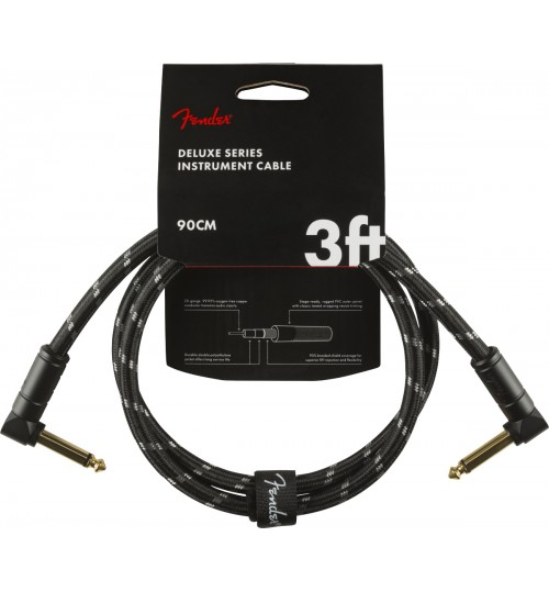 Fender Deluxe Angle/Angle 3 Black Tweed Kablo 90 Cm Enstruman Ara Kablo 0990820096