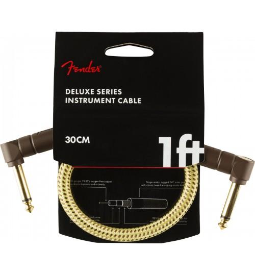 """Fender Deluxe  Angle/Angle 1"""" Tweed Kablo 30 cm Enstruman Ara Kablo 0990820097"""