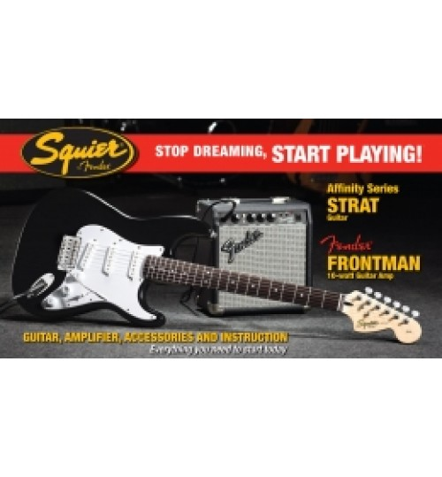 Fender Squier Affiniyt Series Strat Frontman 10G AMP BLK Elektro Gitar Set 0301612606